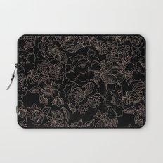 Pink coral tan black floral illustration pattern Laptop Sleeve