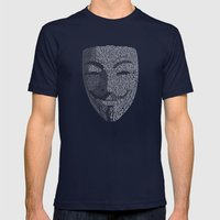 ...You May Call Me 'V' – So who's Anonymous? Mens Fitted Tee Navy SMALL