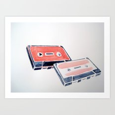 Pink cassette tapes Art Print