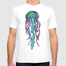 jellyfish White Mens Fitted Tee SMALL