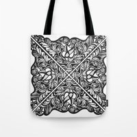 Black Lotus Lace Illustr… Tote Bag