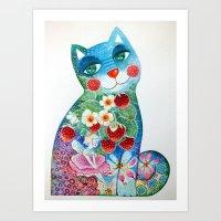 Magic cat with strawberry fairy Art Print