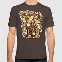 Steampunk Cat Vintage St… Mens Fitted Tee Brown SMALL