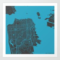 san francisco Art Prints featuring San Francisco by Map Map Maps