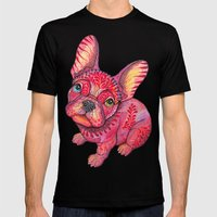 Raspberry frenchie Mens Fitted Tee Black SMALL