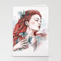 Girl With A Butterfly, W… Stationery Cards