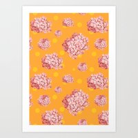 Hydrangea Polka Art Print