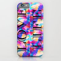 iPhone & iPod Case featuring LOVE LIFE Romantic Fine Art Typography Whimsical Sweet Abstract Acrylic Ikat Painting Pink Purple by EbiEmporium