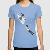 Paperman Womens Fitted Tee Tri-Blue SMALL