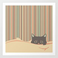 Kitty In The Blanket Art Print