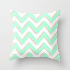 3D CHEVRON MINT/PEACH Throw Pillow