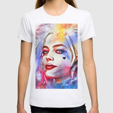 Harley Quinn Painted Womens Fitted Tee Ash Grey SMALL