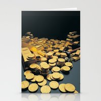 Gold Coins Stationery Cards