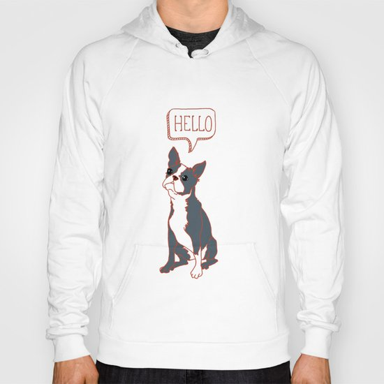 Boston Terrier, Hello, Red, Black, Grey Hoody