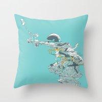 Seafoam Astronaut Throw Pillow