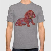 Mini Dachshund  Mens Fitted Tee Athletic Grey SMALL