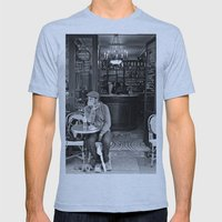 At the Cafe Mens Fitted Tee Athletic Blue SMALL