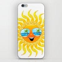 Summer Sun Cartoon with Sunglasses iPhone & iPod Skin