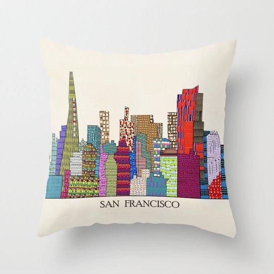 Decorative Pillows San Francisco : San Francisco city skyline Throw Pillow by Bri.buckley Society6