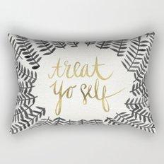 Treat Yo Self – Black & Gold Rectangular Pillow