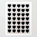 Black Hearts to Crumble Art Print