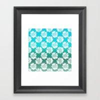 Blue Gradient Flowers Framed Art Print