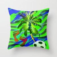 Soccer on the beach Throw Pillow