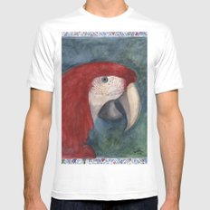 Red Macaw White Mens Fitted Tee SMALL