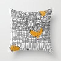 Pencil Birds Throw Pillow