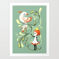 Princess and a Bird Art Print
