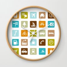 Travel Icons Wall Clock