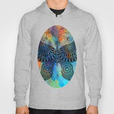 Drawn Butterfly on Colors Hoody