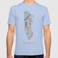 Word Cloud - NYC Mens Fitted Tee Tri-Blue SMALL