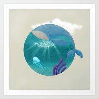 Whale & Jellyfish Art Print