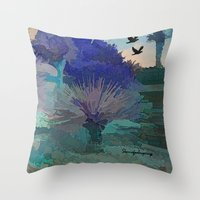 TheDesert blue -By Sherri Of Palm Springs Throw Pillow
