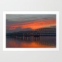 Sunset Bridge Art Print