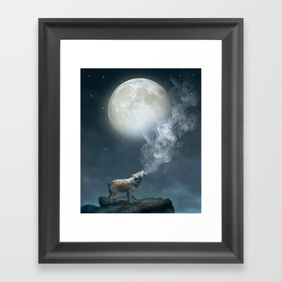 The Light of Starry Dreams (Wolf Moon) Framed Art Print by Soaring Anchor Designs Society6