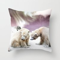Polar Bears And Penguin Throw Pillow