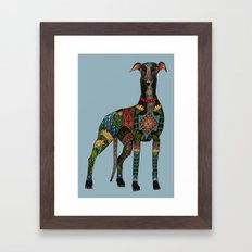 greyhound azure blue Framed Art Print