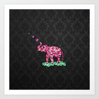 Retro Flower Elephant Pi… Art Print