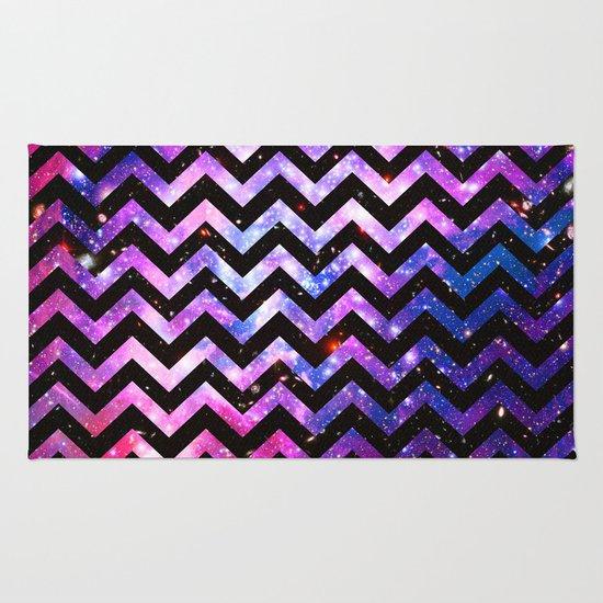 girly chevron pattern cute pink teal nebula galaxy rug by