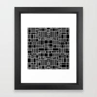 Map Lines Black Framed Art Print