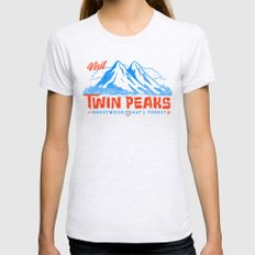 Visit Twin Peaks (orange) Womens Fitted Tee Ash Grey SMALL