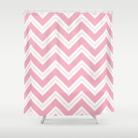 Pink Chevron Shower Curtain