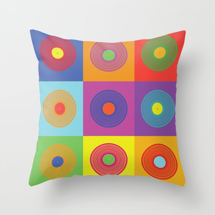 Vinyl Throw Pillows : Vinyl Pop Art Throw Pillow by Sitchko Igor Society6