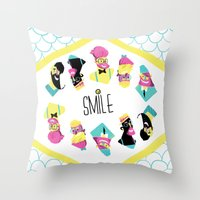 Hipster Smile Throw Pillow