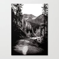 The road through the forrest below the mountains Canvas Print