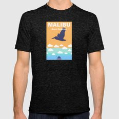 Malibu - California.  Mens Fitted Tee Tri-Black SMALL