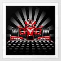 Formula 1 Red Race Car Art Print