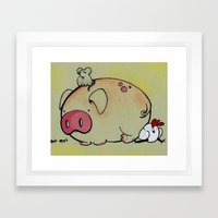 Pig Friends Framed Art Print